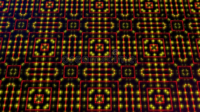 Claro animado shinning pontos vermelhos e amarelos e formas das estrelas ilustração stock