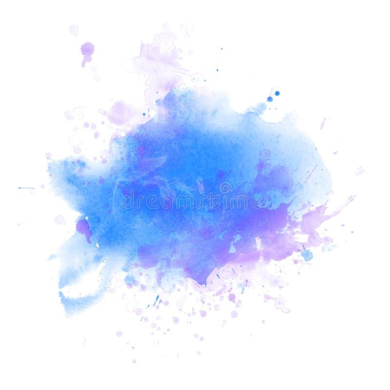 Claro - backround azul do respingo da aquarela isolado no branco ilustração royalty free