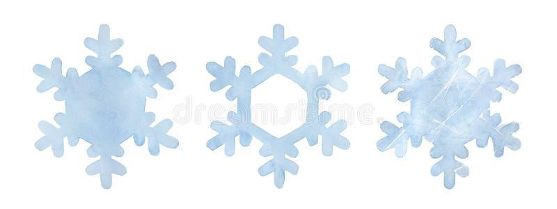 Claro - coleção azul do floco de neve Três variações de uma forma ilustração stock