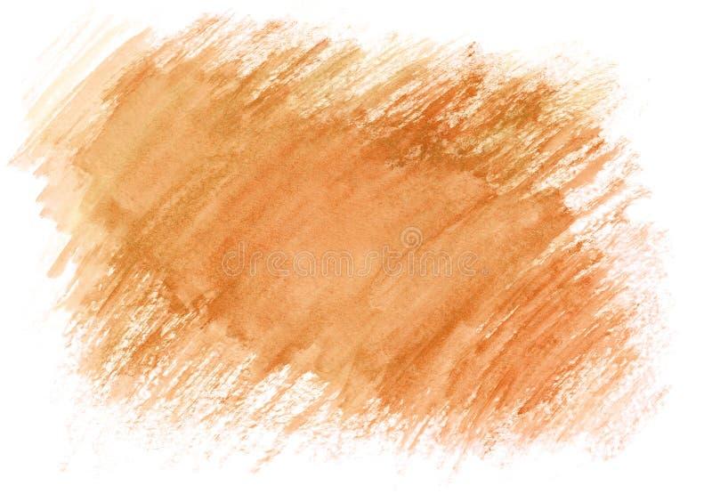 Claro - cursos secos da escova da aquarela alaranjada Fundo abstrato bonito para desenhistas, modelos, convites, cartão imagem de stock royalty free