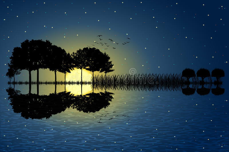 Claro de luna de la isla de la guitarra libre illustration