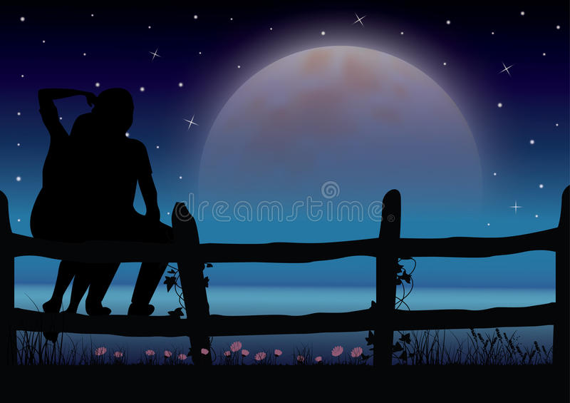 Claro de luna romántico hermoso Graphhics del vector stock de ilustración