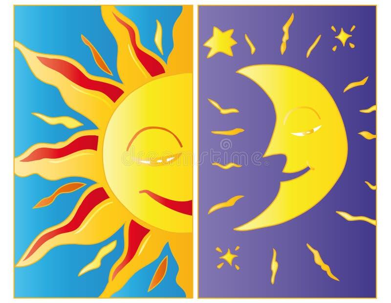Claro de luna y luz del sol. ilustración del vector