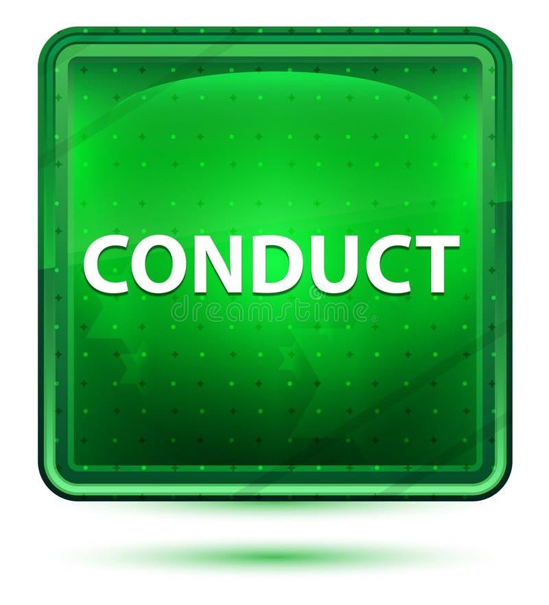 Claro de néon da conduta - botão quadrado verde ilustração royalty free