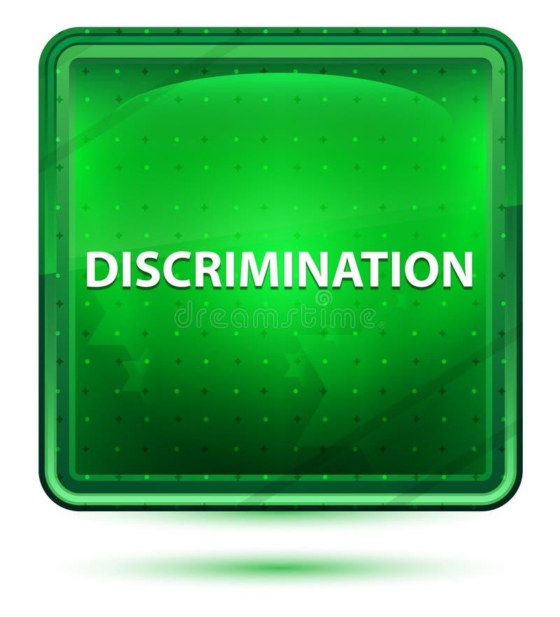 Claro de néon da discriminação - botão quadrado verde ilustração stock