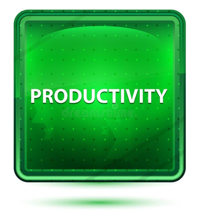 Claro de néon da produtividade - botão quadrado verde ilustração do vetor