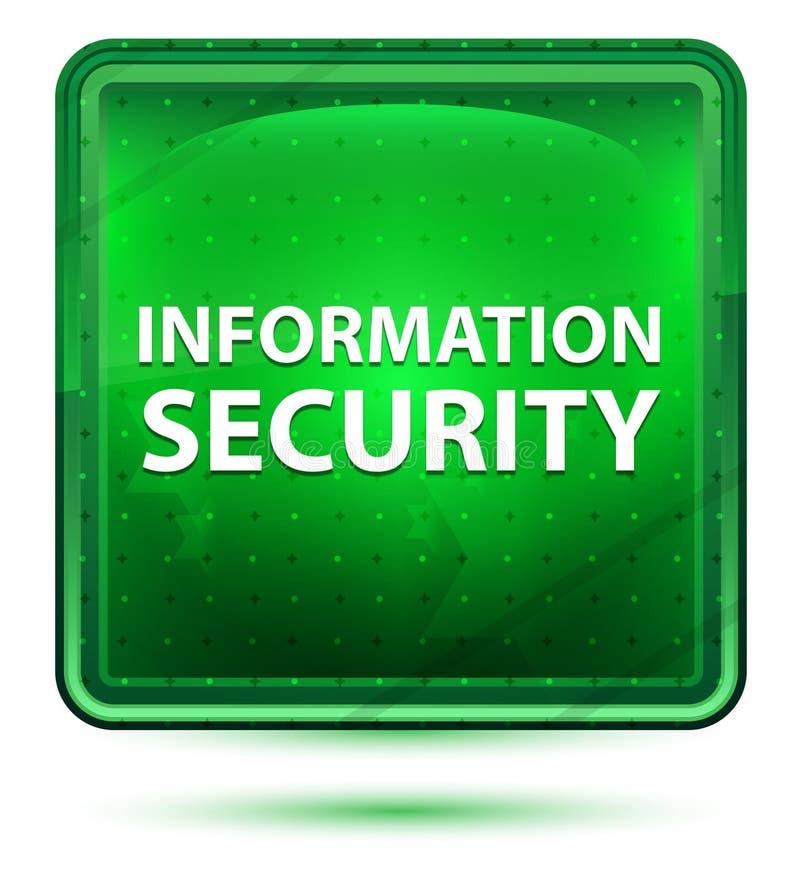 Claro de néon da segurança da informação - botão quadrado verde ilustração do vetor