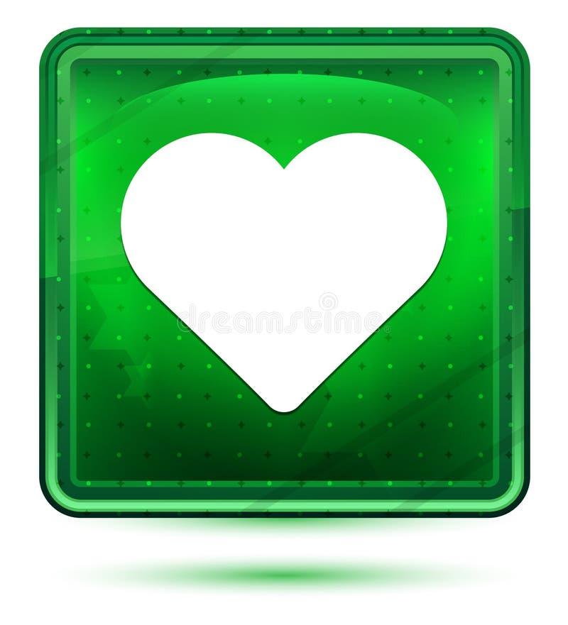 Claro de néon do ícone do coração - botão quadrado verde ilustração do vetor