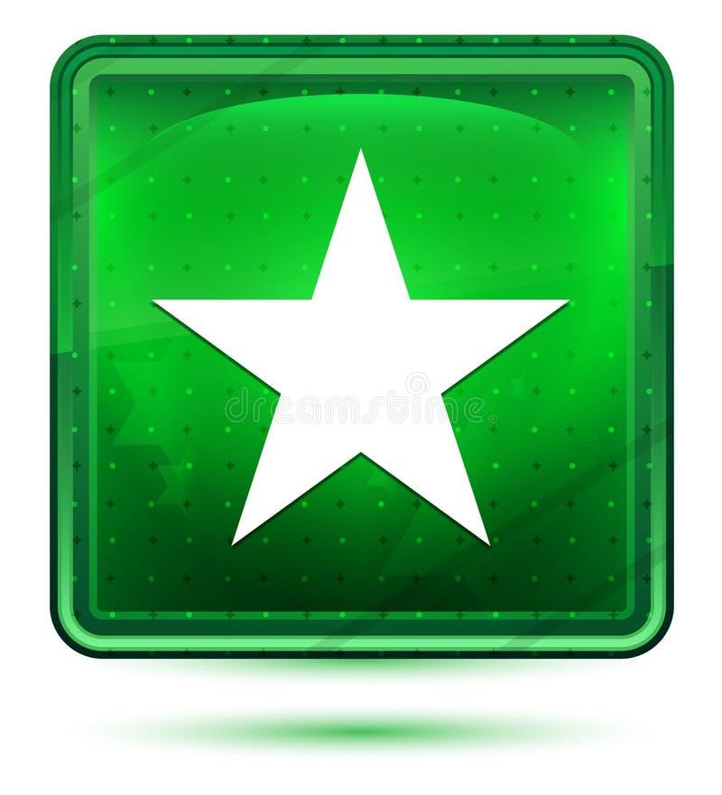 Claro de néon do ícone da estrela - botão quadrado verde ilustração royalty free
