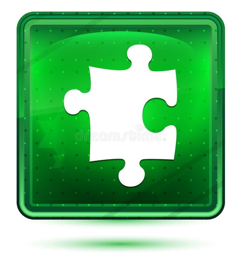 Claro de néon do ícone do enigma - botão quadrado verde ilustração stock