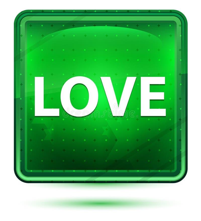 Claro de néon do amor - botão quadrado verde ilustração royalty free