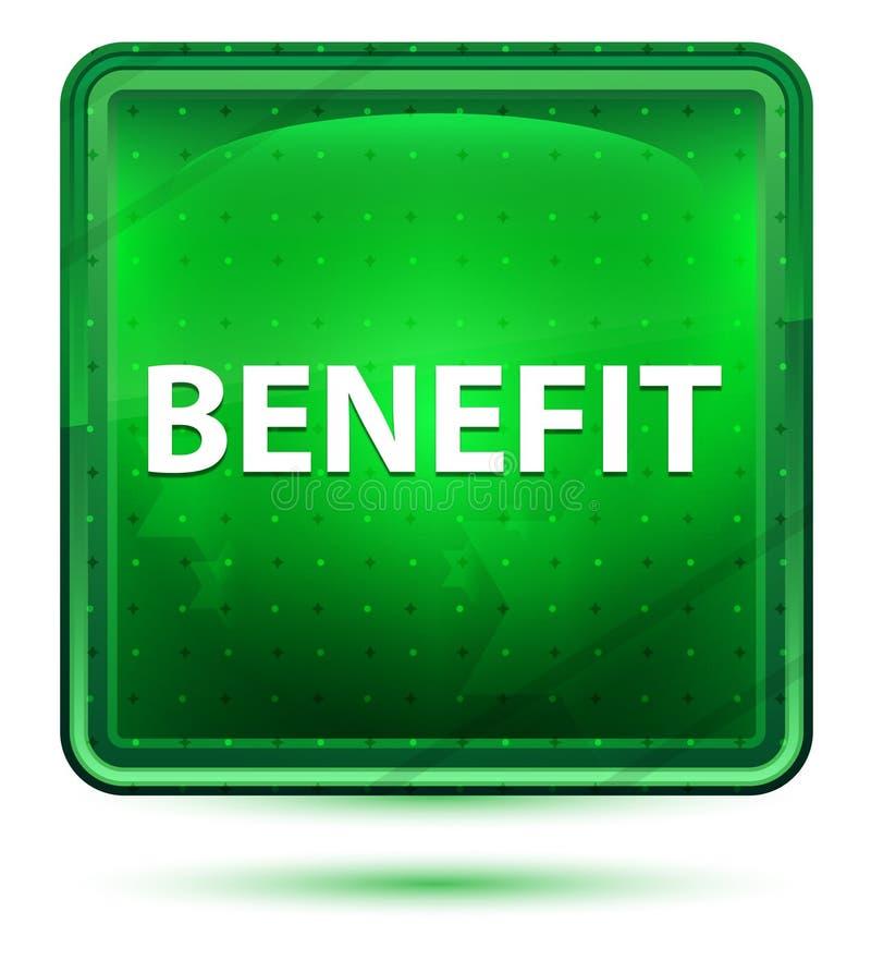 Claro de néon do benefício - botão quadrado verde ilustração royalty free