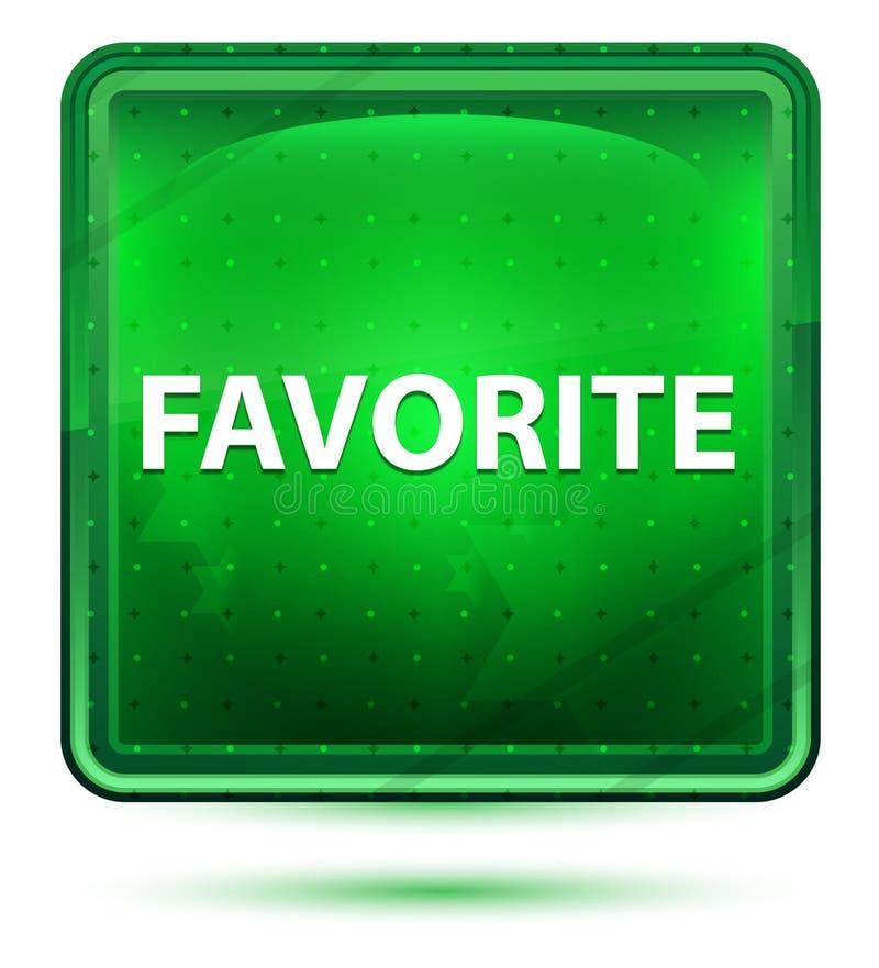 Claro de néon favorito - botão quadrado verde ilustração stock