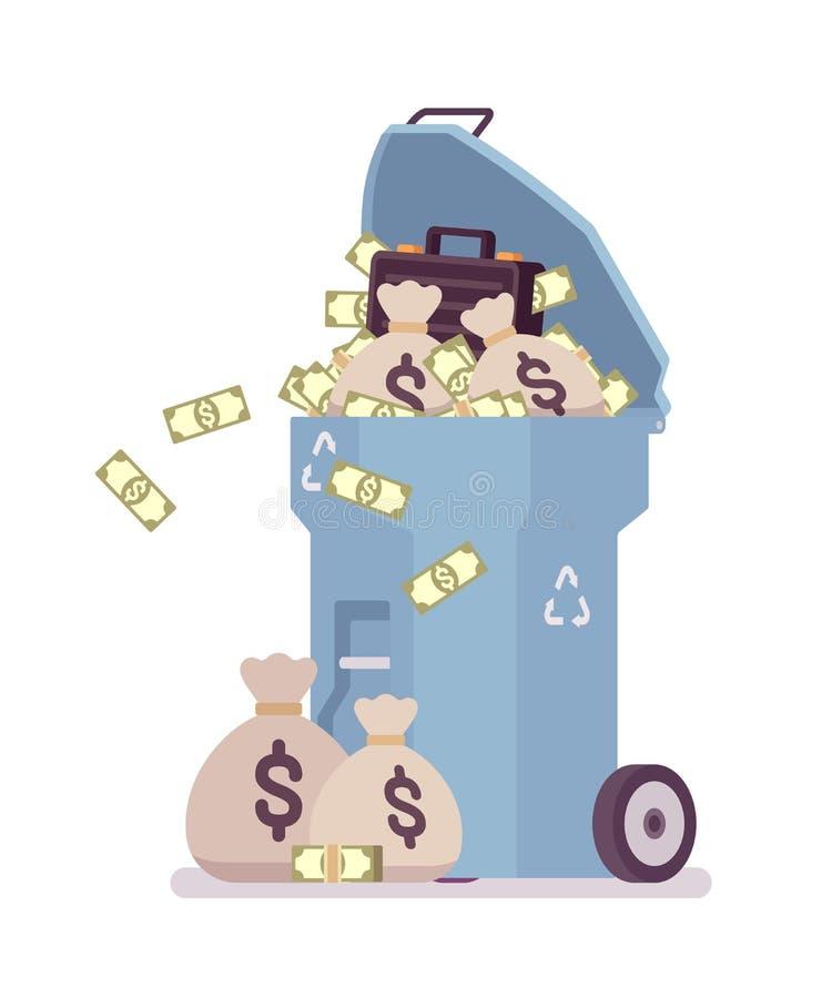 Claro - escaninho de lixo azul com dinheiro ilustração do vetor