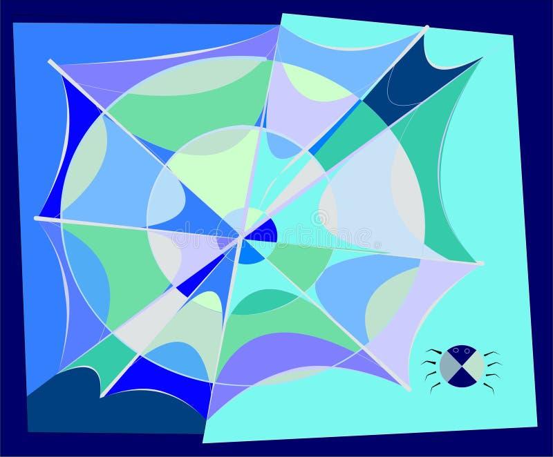 Claro - fundo abstrato azul, spiderweb-18-148 ilustração royalty free