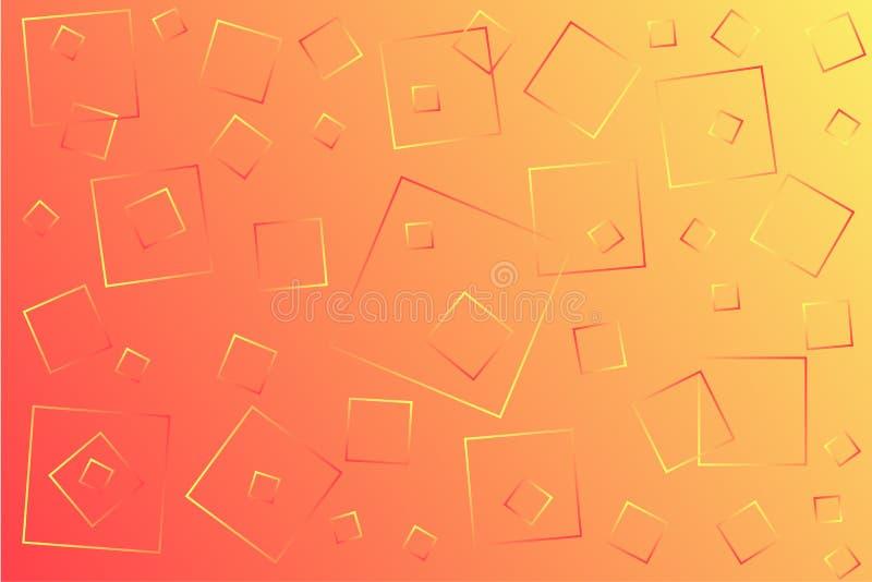 Claro - ilustração amarela e cor-de-rosa do vetor, que consiste em quadrados de tamanhos diferentes ilustração stock