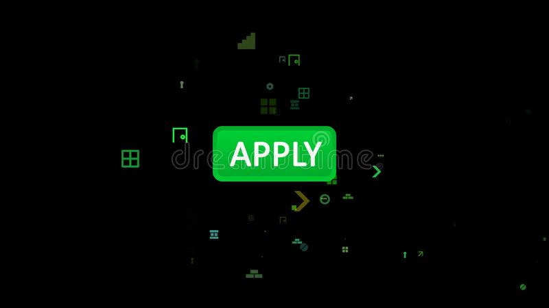Claro - o verde aplica o ícone tocado com seta ilustração stock