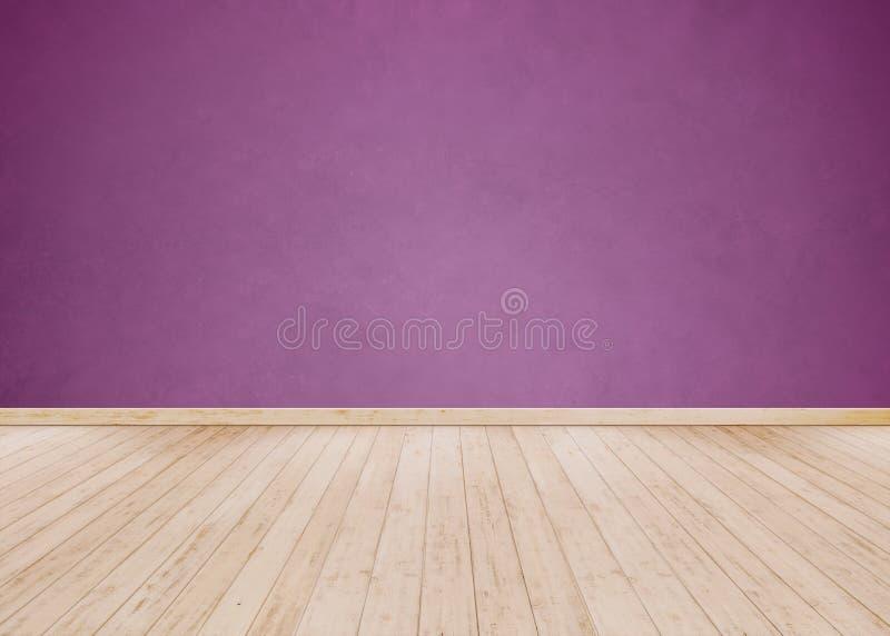 Claro - parede roxa do cimento com assoalho de madeira foto de stock royalty free