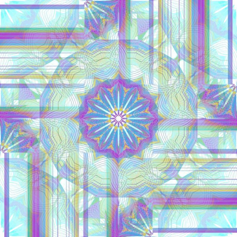 Claro roxo regular do teste padrão decorativo intrincado e delicado - verde azul da hortelã amarelo e branco centrado ilustração do vetor