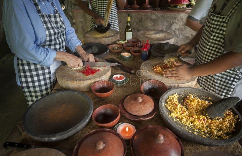 Clase de cocina del Balinese foto de archivo