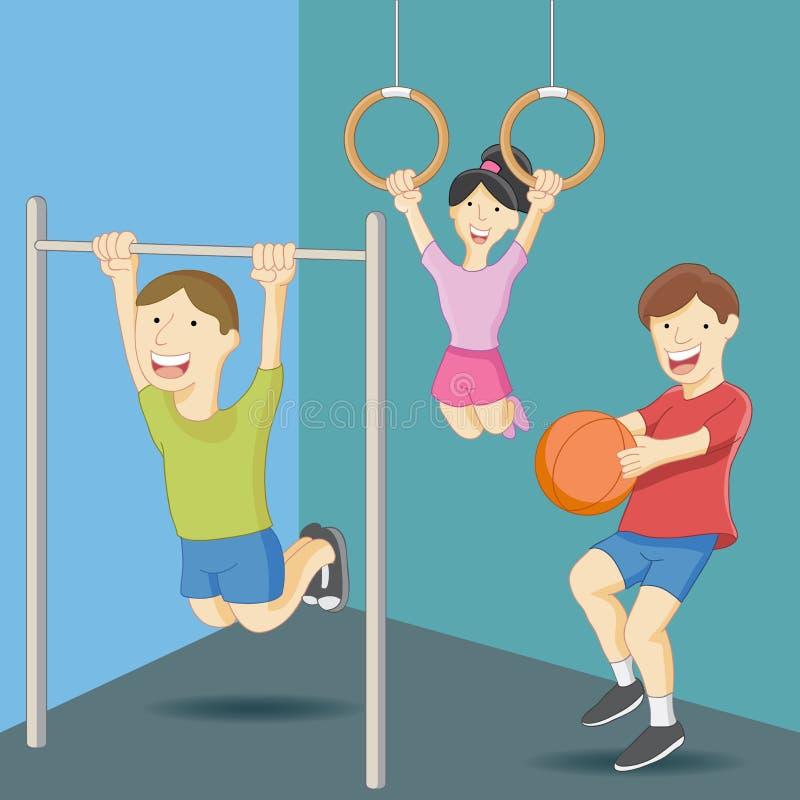 Clase de la educación física ilustración del vector