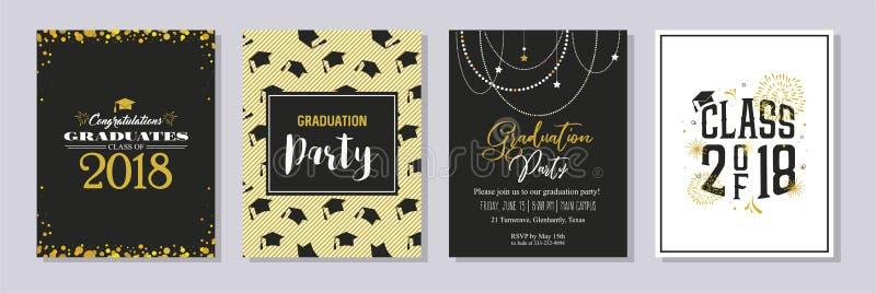 Clase de la graduación de la tarjeta 2018 de felicitación y de sistema de la plantilla de la invitación Invitación del partido de fotos de archivo