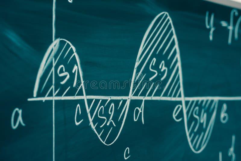 Clase de la matemáticas álgebra El gráfico y las fórmulas se escriben en el consejo escolar imagen de archivo libre de regalías