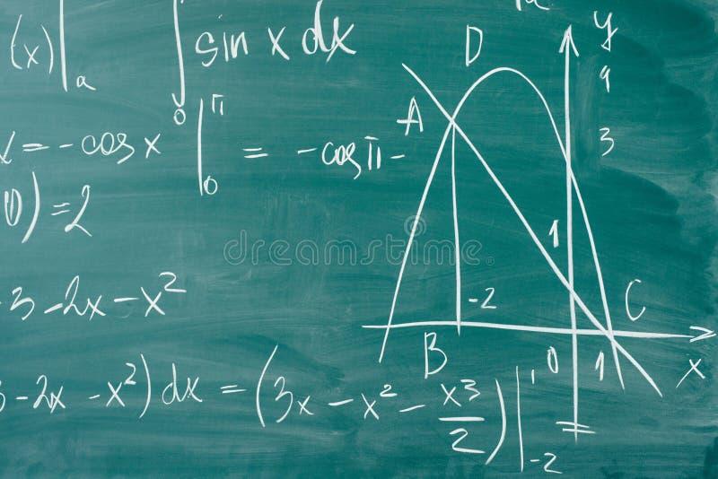 Clase de la matemáticas álgebra Las fórmulas se escriben en el consejo escolar imagen de archivo