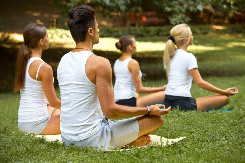 Clase de la yoga Grupo de personas que medita en el parque del verano imagen de archivo