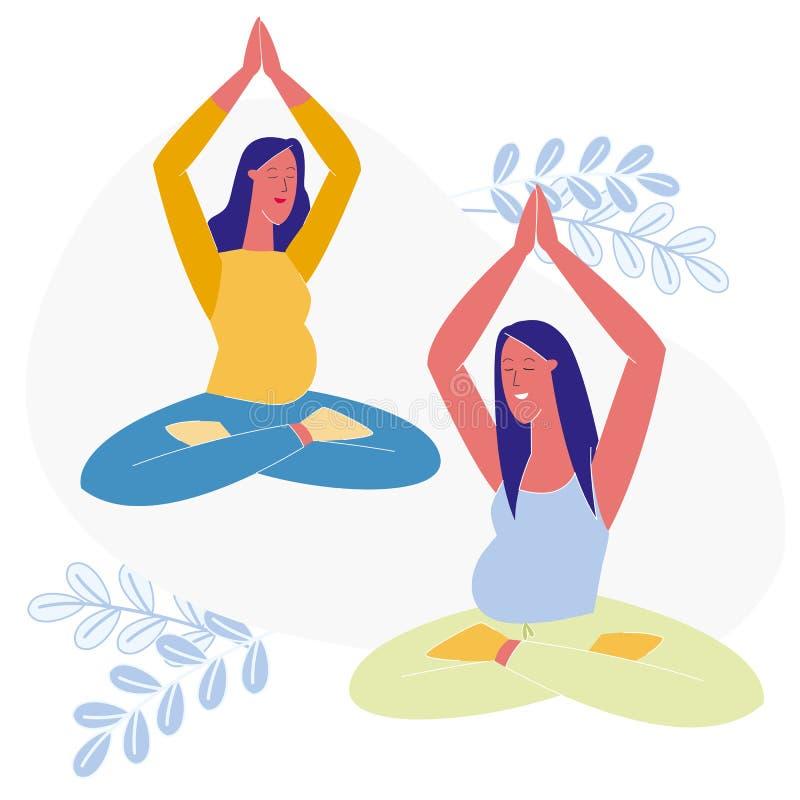 Clase de la yoga para el ejemplo plano embarazada del vector ilustración del vector