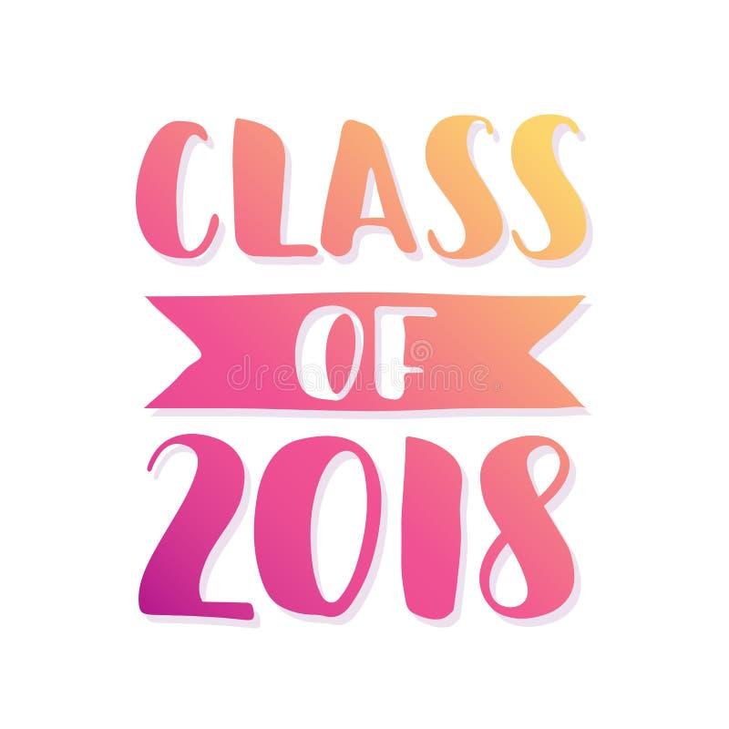 Clase De 2018 Logotipo Dibujado Mano De La Graduación De Las Letras ...