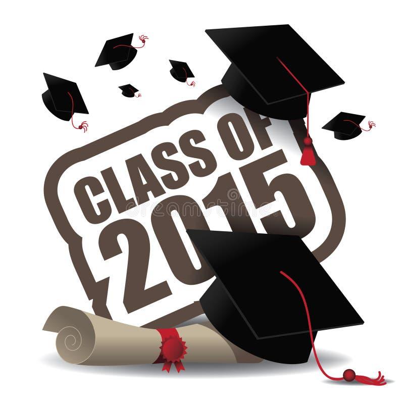 Clase del diseño 2015 de la graduación ilustración del vector