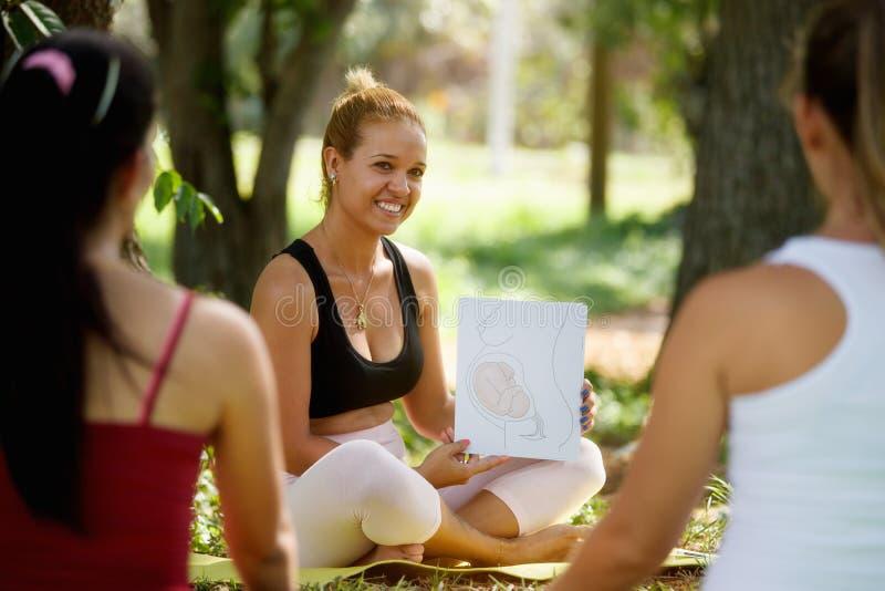 Clase prenatal con el doctor And Pregnant Women en parque foto de archivo libre de regalías