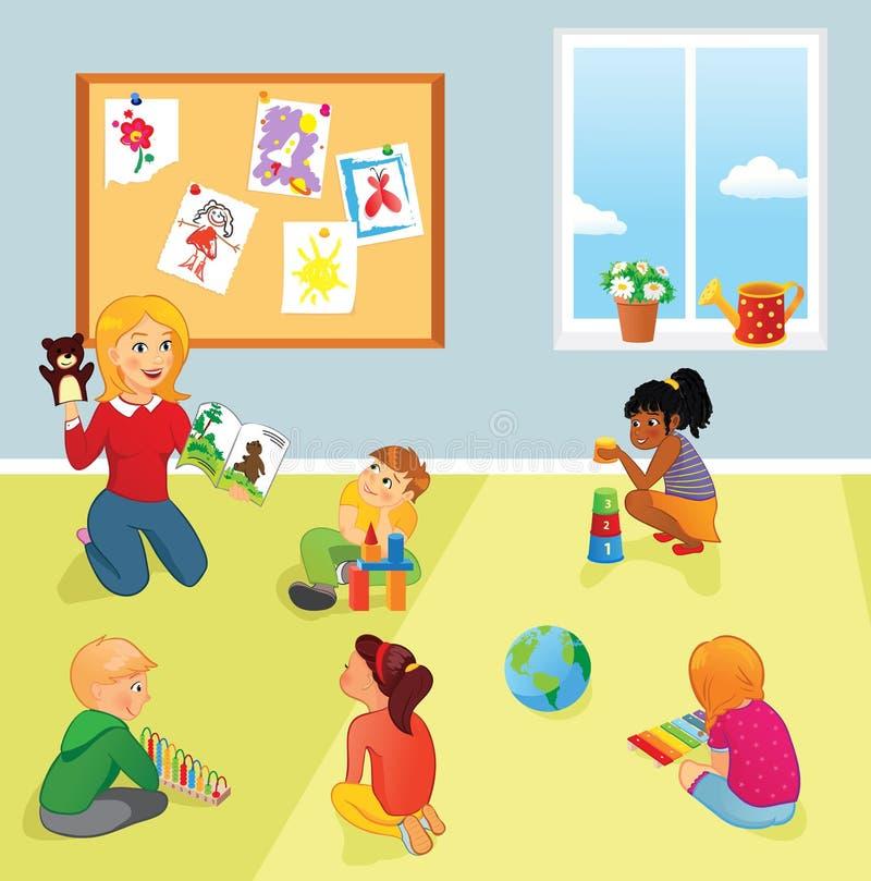 Clase, profesor y niños de la escuela primaria libre illustration