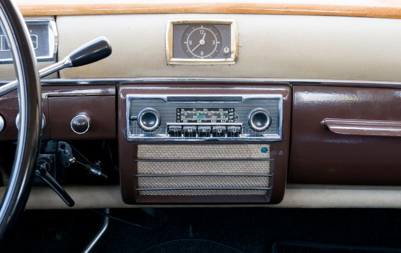 Clase view of an ancient dashboard royalty free stock image
