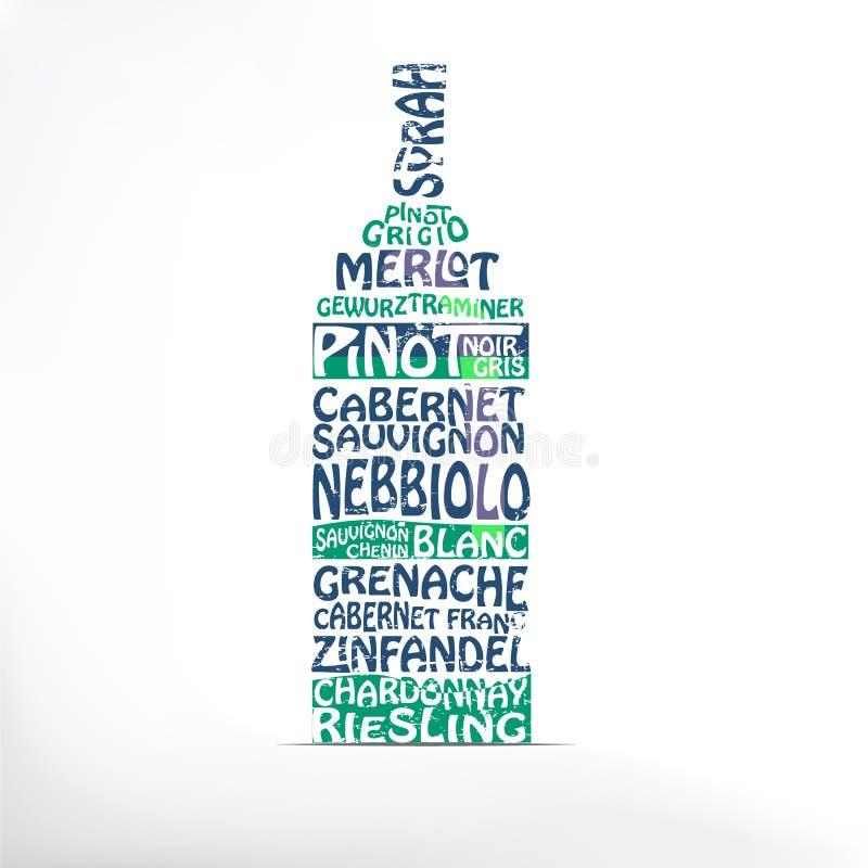 Clases de tipografía del vino blanco rojo y en una forma de una botella imágenes de archivo libres de regalías