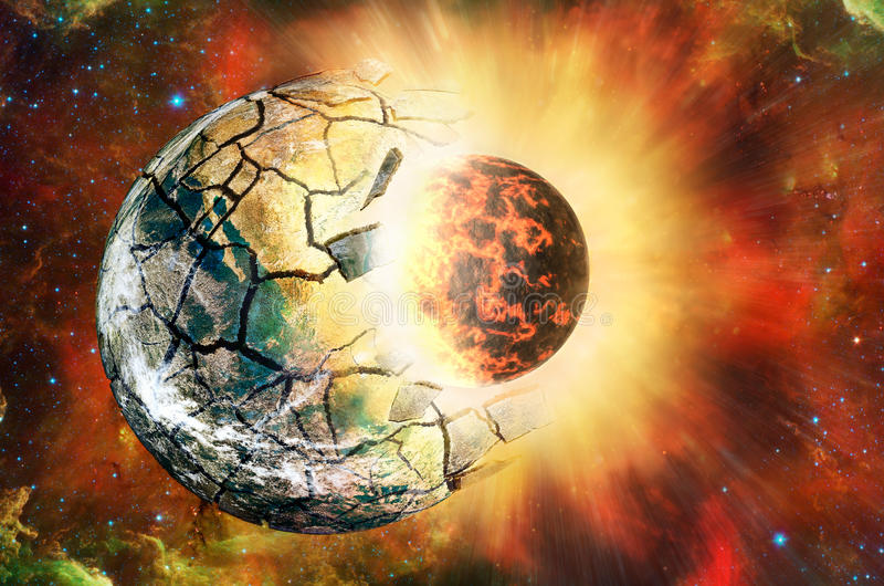 Clash of two planets in open space. Elements of this image furnished by NASA stock photography