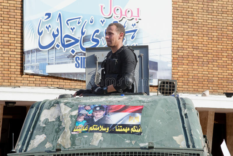 Clashes between demonstrators and Muslim Brotherhood stock image