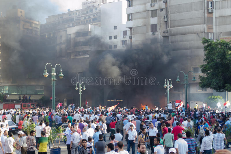 Clashes between demonstrators and Muslim Brotherhood royalty free stock photography