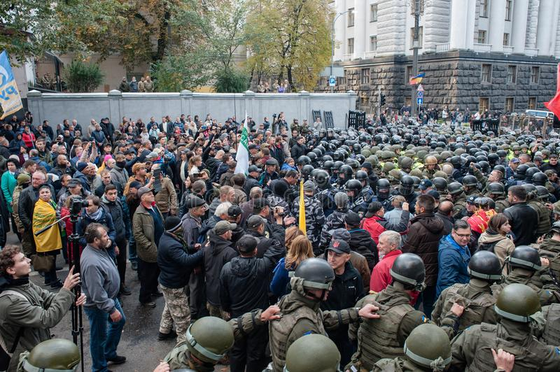 Clashes between police and demonstrators in Kyiv stock photo