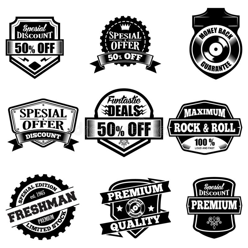 Clasic Retro Badges. Set of classic company retro or old, vintage badges or banners, sign or logotype, labels and stickers with crown and star, ship steering stock illustration