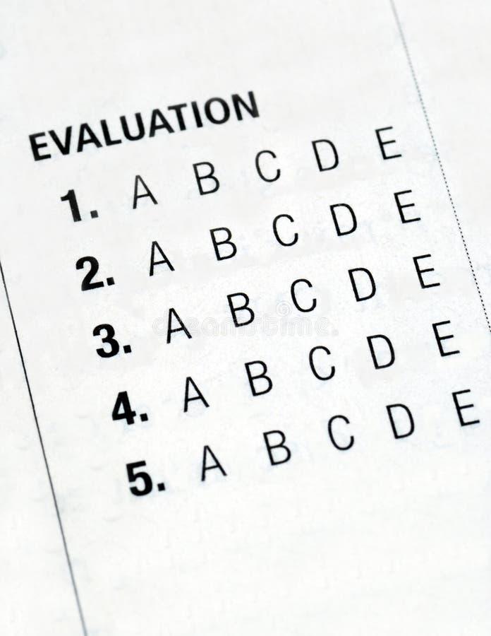 Clasifiar el formulario de evaluación imagen de archivo