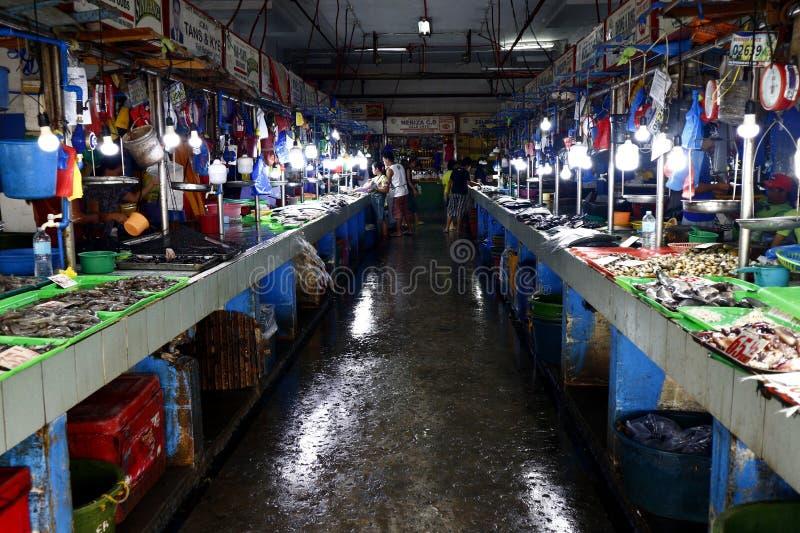Clasificó los mariscos y los pescados frescos en la exhibición en las paradas dentro de un mercado público imágenes de archivo libres de regalías