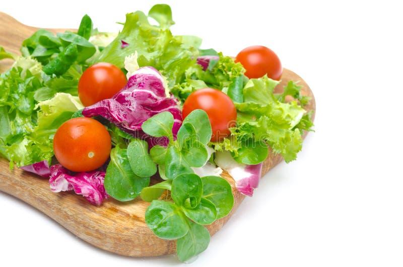 Clasificó varias clases de ensalada fresca (maíz, radicchio, la lechuga) imagenes de archivo