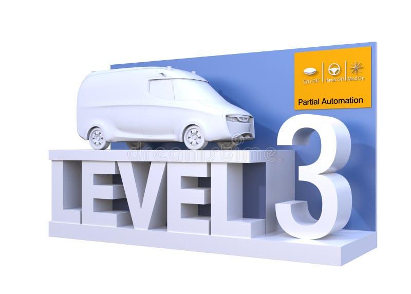 Clasificación autónoma del coche del nivel 3 ilustración del vector