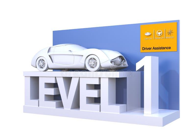 Clasificación autónoma del coche del nivel 1 ilustración del vector