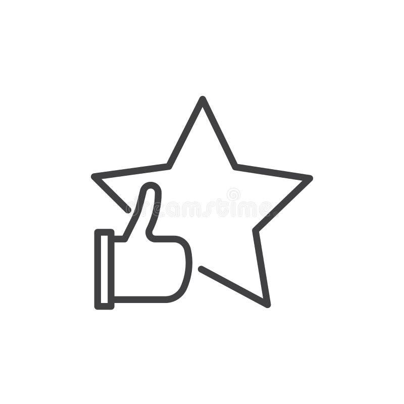 Clasificación con la estrella y el pulgar encima de la línea icono libre illustration