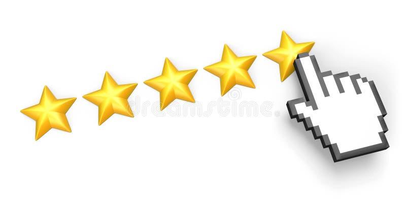 Clasificación de cinco estrellas. Cursor de la mano. ilustración del vector
