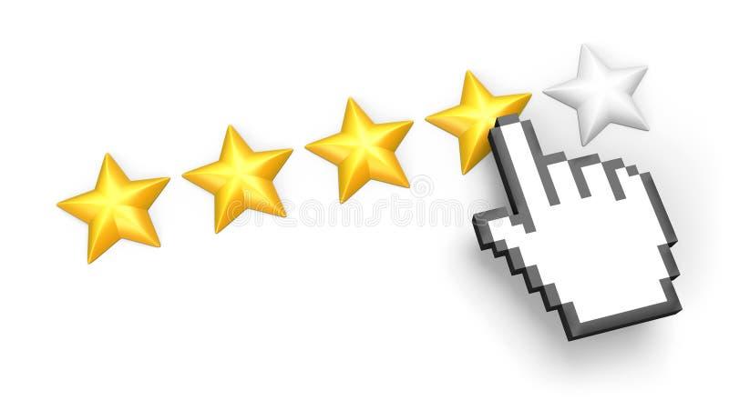 Clasificación de cuatro estrellas. Cursor de la mano. ilustración del vector
