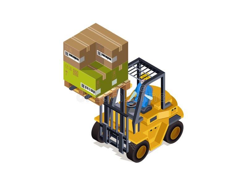 Clasificación del almacén industrial de las mercancías con un cargador, servicio del cargo fotos de archivo libres de regalías